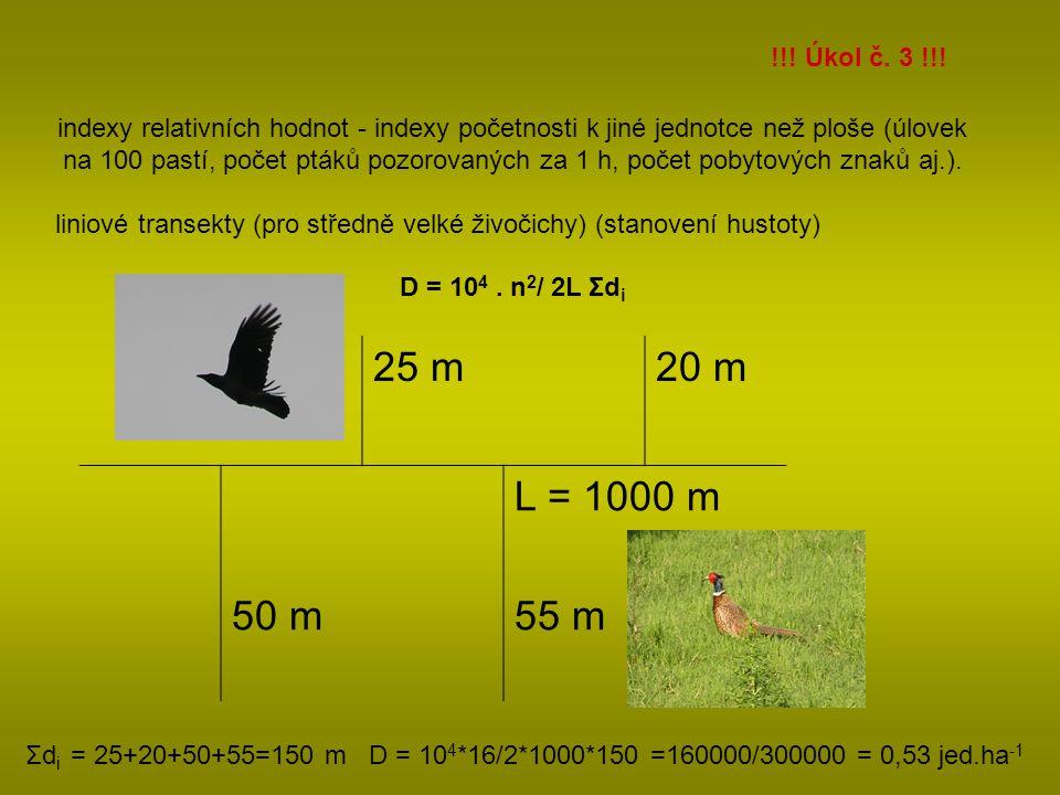 indexy relativních hodnot - indexy početnosti k jiné jednotce než ploše (úlovek na 100 pastí, počet ptáků pozorovaných za 1 h, počet pobytových znaků