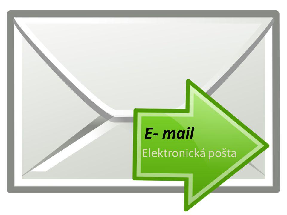 E - mail Zasílání elektronických zpráv pomocí internetu V E - mailu můžeš poslat: – Textové soubory – Videa – Hudební soubory – Libovolná data Omezení prakticky jen u poskytovatele – nejčastěji 10MB