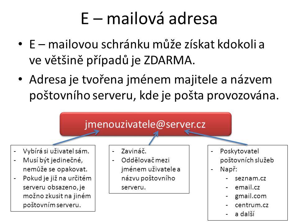 E – mailová adresa E – mailovou schránku může získat kdokoli a ve většině případů je ZDARMA.