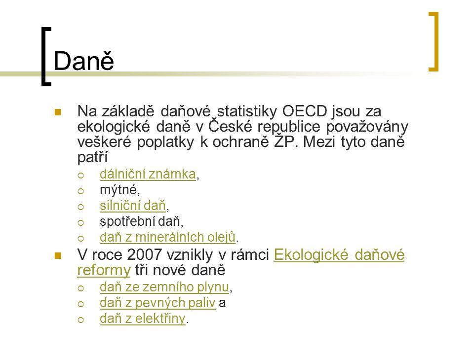 Daně Na základě daňové statistiky OECD jsou za ekologické daně v České republice považovány veškeré poplatky k ochraně ŽP. Mezi tyto daně patří  dáln