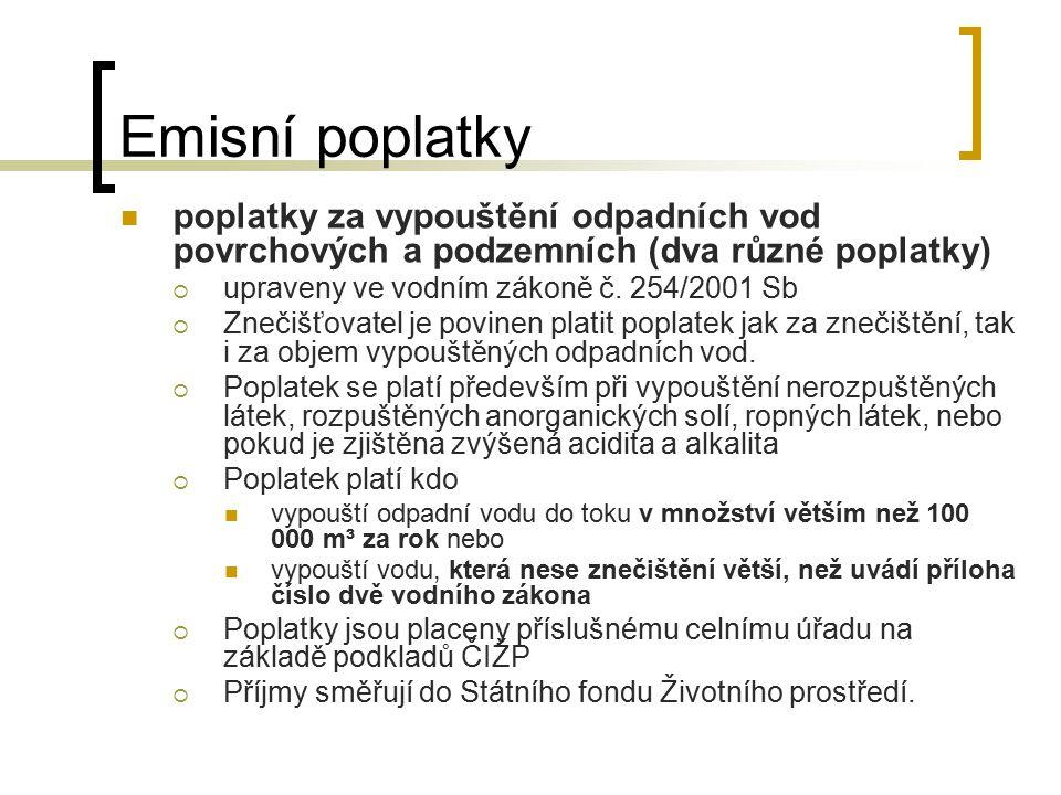 Emisní poplatky poplatky za vypouštění odpadních vod povrchových a podzemních (dva různé poplatky)  upraveny ve vodním zákoně č. 254/2001 Sb  Znečiš