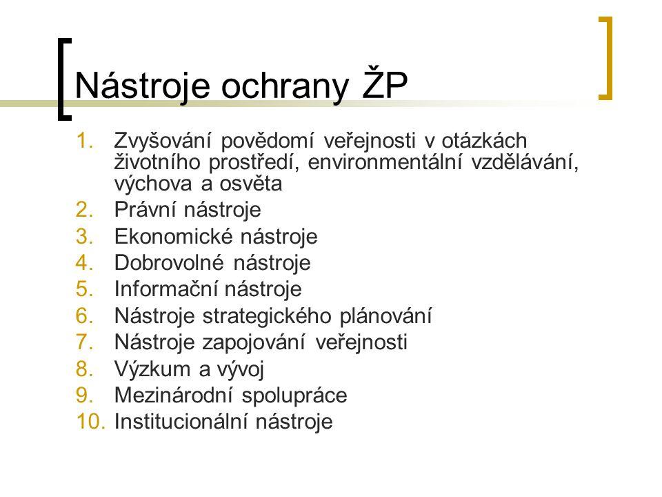 Nástroje ochrany ŽP 1.Zvyšování povědomí veřejnosti v otázkách životního prostředí, environmentální vzdělávání, výchova a osvěta 2.Právní nástroje 3.E