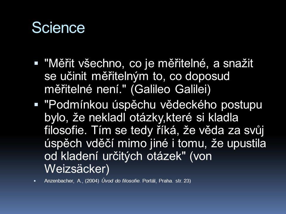 Postavení přírodních věd