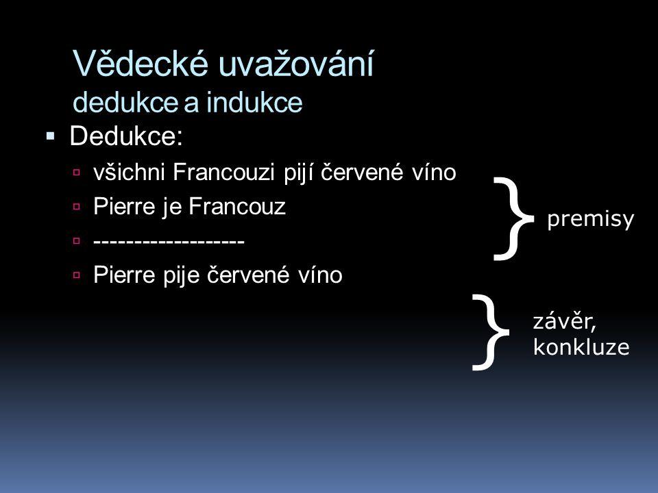 Vědecké uvažování dedukce a indukce  Dedukce:  všichni Francouzi pijí červené víno  Pierre je Francouz  -------------------  Pierre pije červené