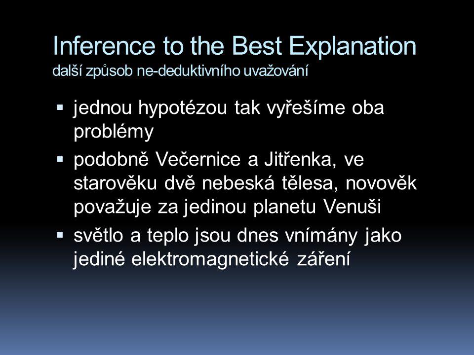 Inference to the Best Explanation další způsob ne-deduktivního uvažování  jednou hypotézou tak vyřešíme oba problémy  podobně Večernice a Jitřenka,