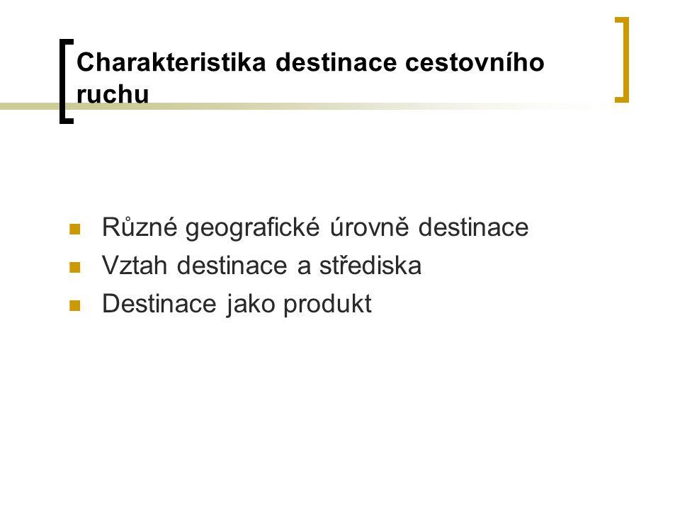 Charakteristika destinace cestovního ruchu Různé geografické úrovně destinace Vztah destinace a střediska Destinace jako produkt