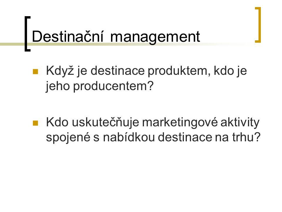 Destinační management Když je destinace produktem, kdo je jeho producentem? Kdo uskutečňuje marketingové aktivity spojené s nabídkou destinace na trhu
