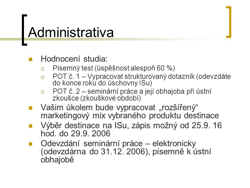 Administrativa Hodnocení studia:  Písemný test (úspěšnost alespoň 60 %)  POT č. 1 – Vypracovat strukturovaný dotazník (odevzdáte do konce roku do ús