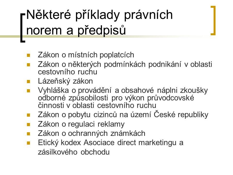 Některé příklady právních norem a předpisů Zákon o místních poplatcích Zákon o některých podmínkách podnikání v oblasti cestovního ruchu Lázeňský záko