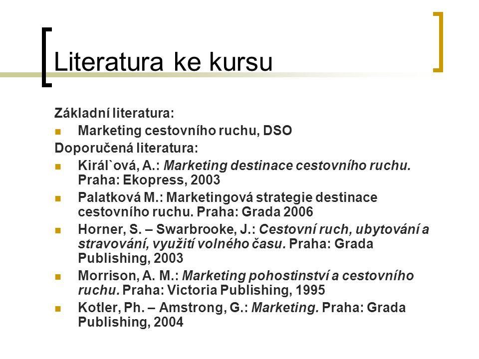 Literatura ke kursu Základní literatura: Marketing cestovního ruchu, DSO Doporučená literatura: Királ`ová, A.: Marketing destinace cestovního ruchu. P