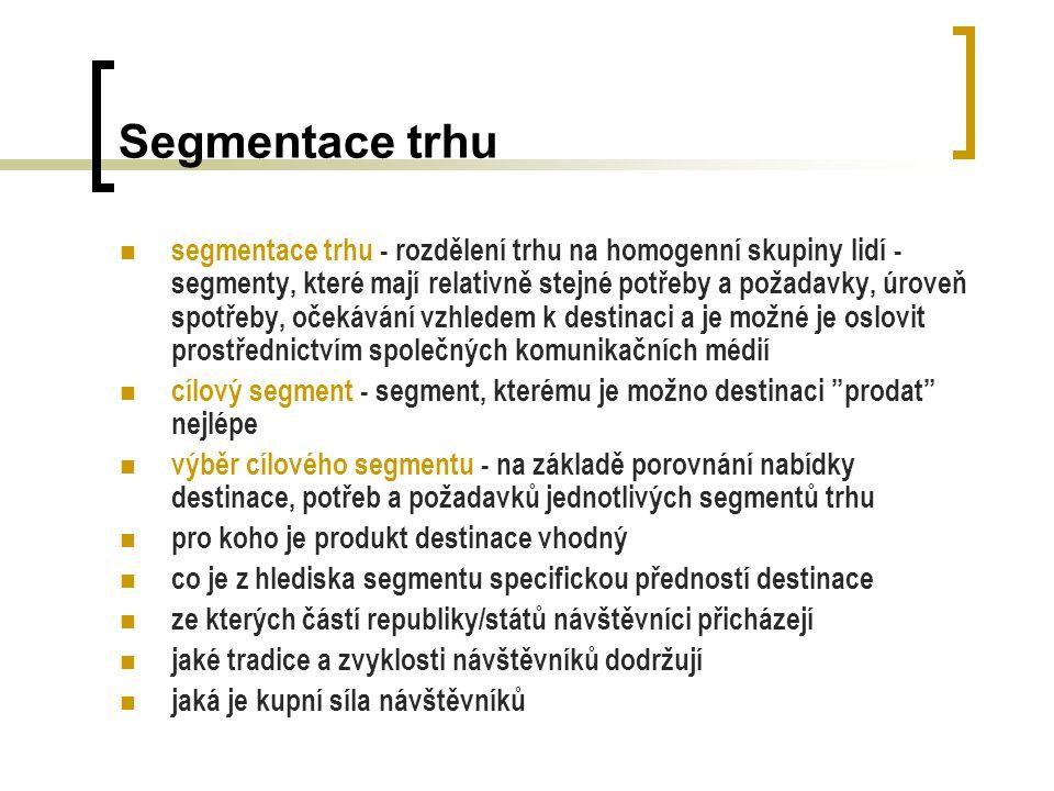 Segmentace trhu segmentace trhu - rozdělení trhu na homogenní skupiny lidí - segmenty, které mají relativně stejné potřeby a požadavky, úroveň spotřeb