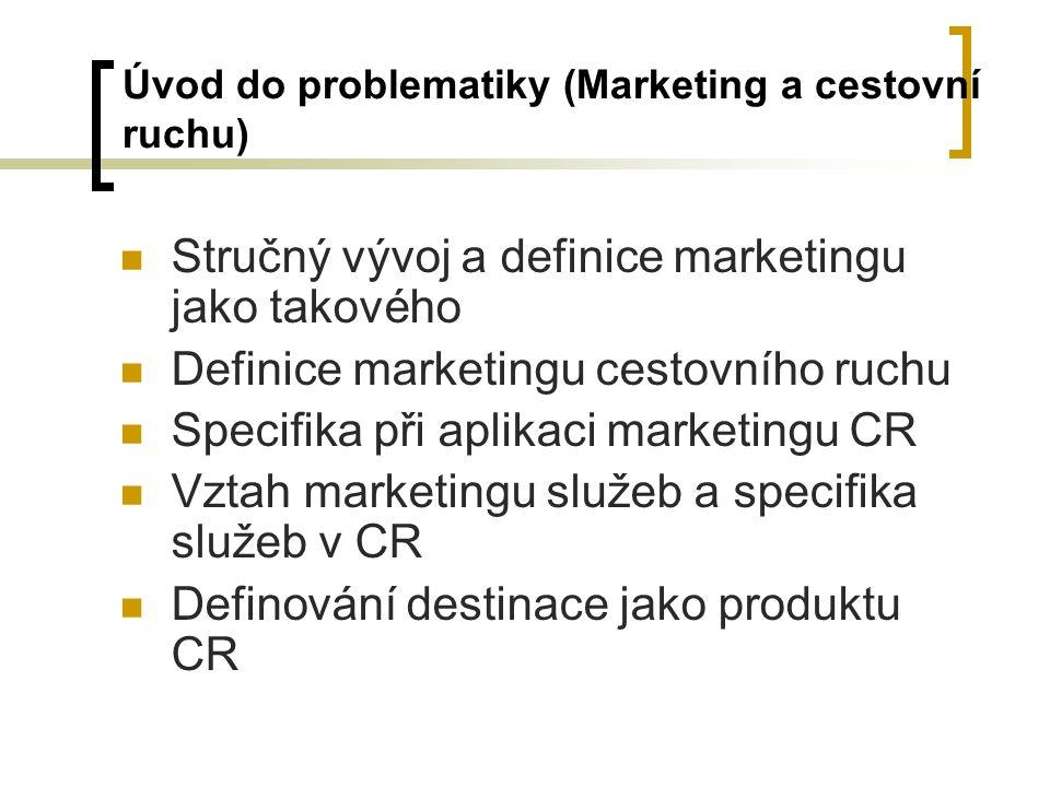Úvod do problematiky (Marketing a cestovní ruchu) Stručný vývoj a definice marketingu jako takového Definice marketingu cestovního ruchu Specifika při