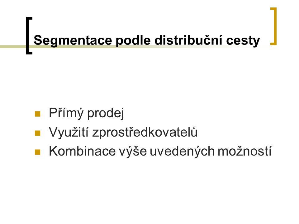 Segmentace podle distribuční cesty Přímý prodej Využití zprostředkovatelů Kombinace výše uvedených možností