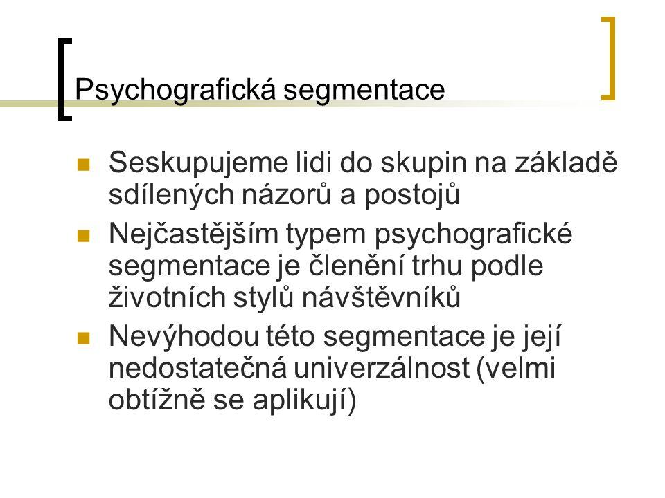 Psychografická segmentace Seskupujeme lidi do skupin na základě sdílených názorů a postojů Nejčastějším typem psychografické segmentace je členění trh