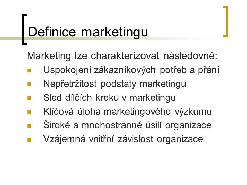 Definice marketingu Hlavní podstata jednotlivých definic marketingu Hlavní podstataAutor Marketing znamená učinit zákazníka středem podnikání Kotler Marketing jsou metody utváření příjemného dojmu Lendrevic a Lindon Marketing jsou metody, jimiž podnik rozvíjí své trhy Lewitt Marketing je organizování podnikové kultury, která má zaměřit podnik na trh a na zákazníka Drucker Kanterová Peters a Waterman