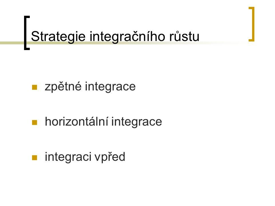 Strategie integračního růstu zpětné integrace horizontální integrace integraci vpřed