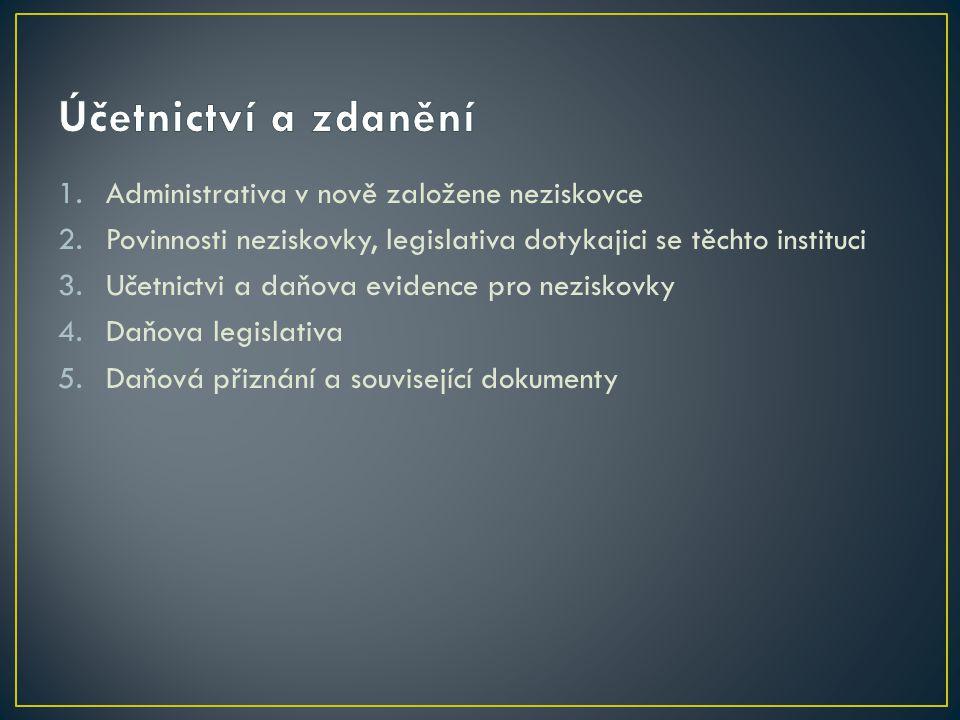 1.Administrativa v nově založene neziskovce 2.Povinnosti neziskovky, legislativa dotykajici se těchto instituci 3.Učetnictvi a daňova evidence pro neziskovky 4.Daňova legislativa 5.Daňová přiznání a související dokumenty