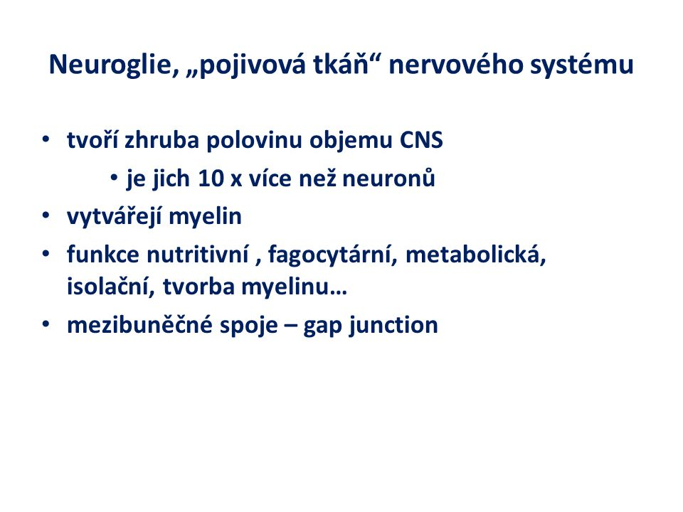 """Neuroglie, """"pojivová tkáň nervového systému tvoří zhruba polovinu objemu CNS je jich 10 x více než neuronů vytvářejí myelin funkce nutritivní, fagocytární, metabolická, isolační, tvorba myelinu… mezibuněčné spoje – gap junction"""