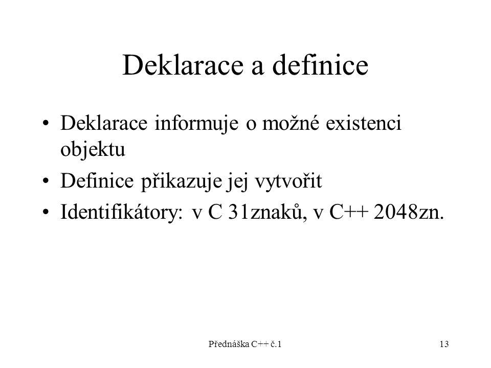 Přednáška C++ č.113 Deklarace a definice Deklarace informuje o možné existenci objektu Definice přikazuje jej vytvořit Identifikátory: v C 31znaků, v C++ 2048zn.