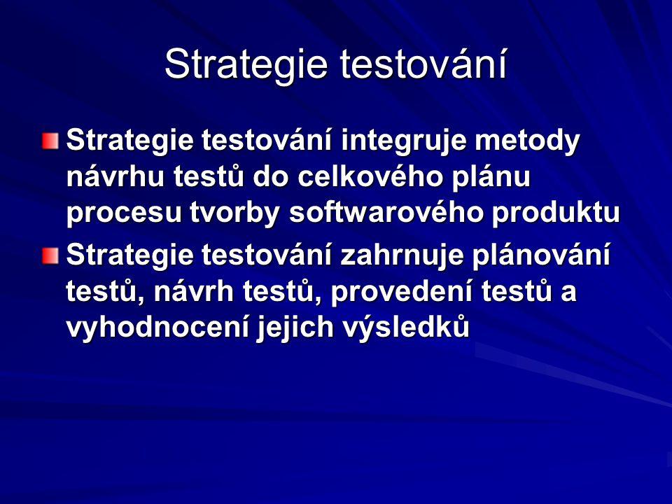 Strategie testování Strategie testování integruje metody návrhu testů do celkového plánu procesu tvorby softwarového produktu Strategie testování zahrnuje plánování testů, návrh testů, provedení testů a vyhodnocení jejich výsledků
