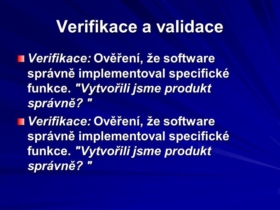 Verifikace a validace Verifikace: Ověření, že software správně implementoval specifické funkce.