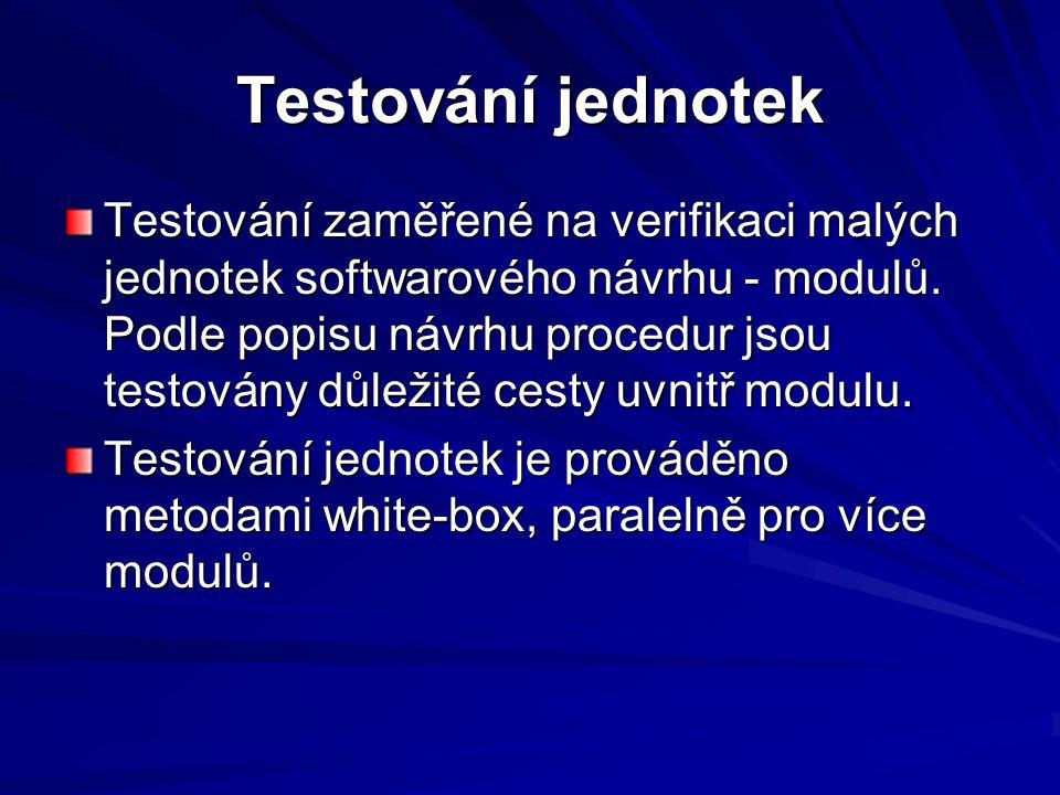 Testování jednotek Testování zaměřené na verifikaci malých jednotek softwarového návrhu - modulů.
