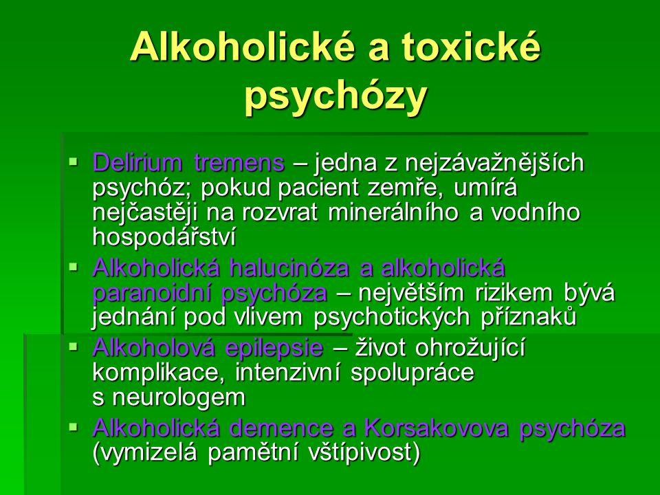 Alkoholické a toxické psychózy  Delirium tremens – jedna z nejzávažnějších psychóz; pokud pacient zemře, umírá nejčastěji na rozvrat minerálního a vo