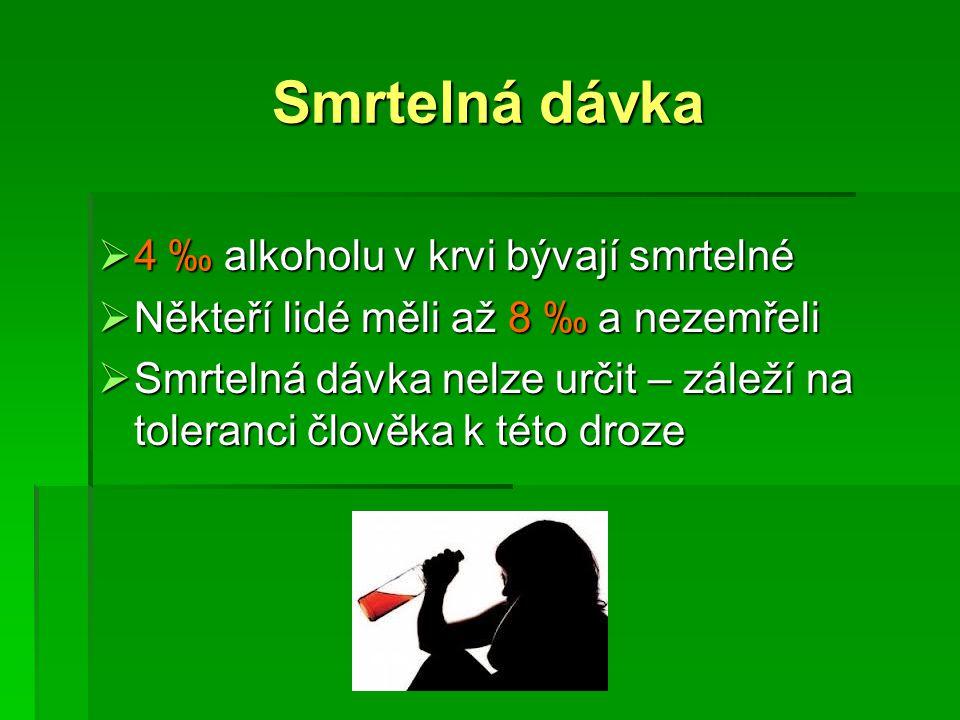 Smrtelná dávka  4 ‰ alkoholu v krvi bývají smrtelné  Někteří lidé měli až 8 ‰ a nezemřeli  Smrtelná dávka nelze určit – záleží na toleranci člověka