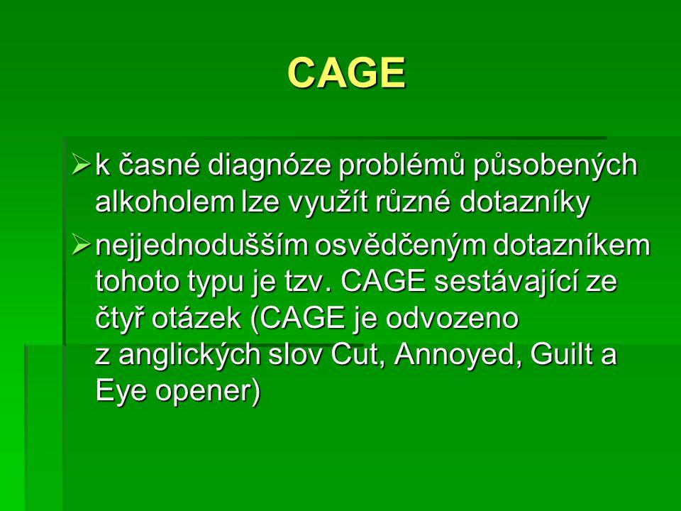 CAGE  k časné diagnóze problémů působených alkoholem lze využít různé dotazníky  nejjednodušším osvědčeným dotazníkem tohoto typu je tzv. CAGE sestá