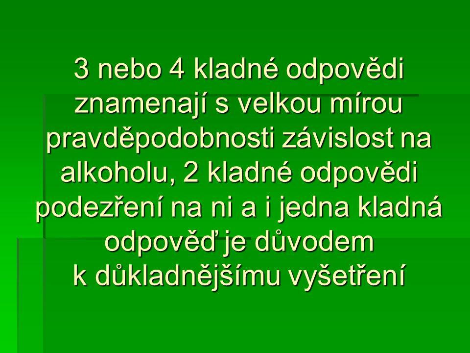 3 nebo 4 kladné odpovědi znamenají s velkou mírou pravděpodobnosti závislost na alkoholu, 2 kladné odpovědi podezření na ni a i jedna kladná odpověď j