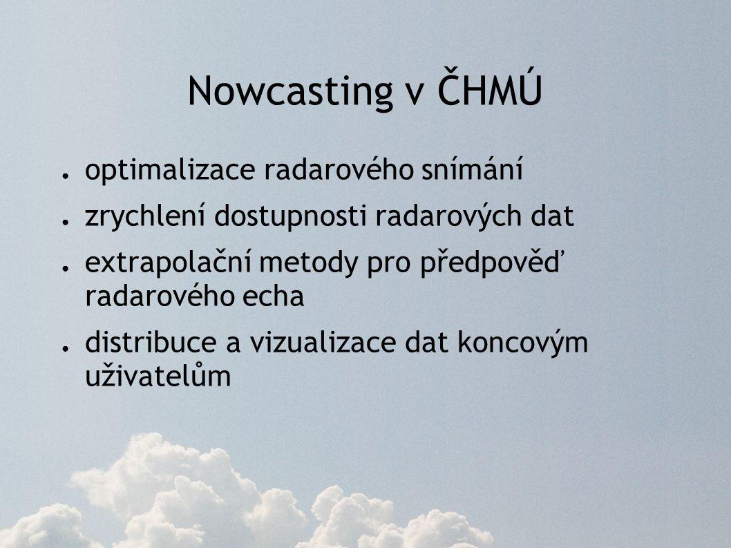 Nowcasting v ČHMÚ ● optimalizace radarového snímání ● zrychlení dostupnosti radarových dat ● extrapolační metody pro předpověď radarového echa ● distribuce a vizualizace dat koncovým uživatelům
