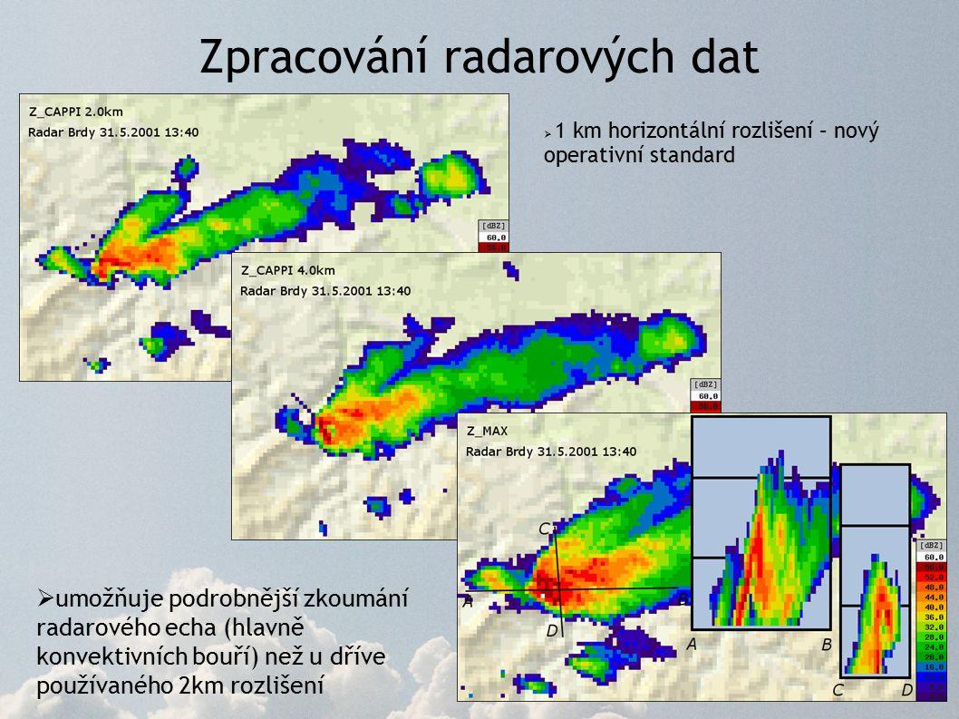 Zpracování radarových dat  1 km horizontální rozlišení – nový operativní standard  umožňuje podrobnější zkoumání radarového echa (hlavně konvektivních bouří) než u dříve používaného 2km rozlišení