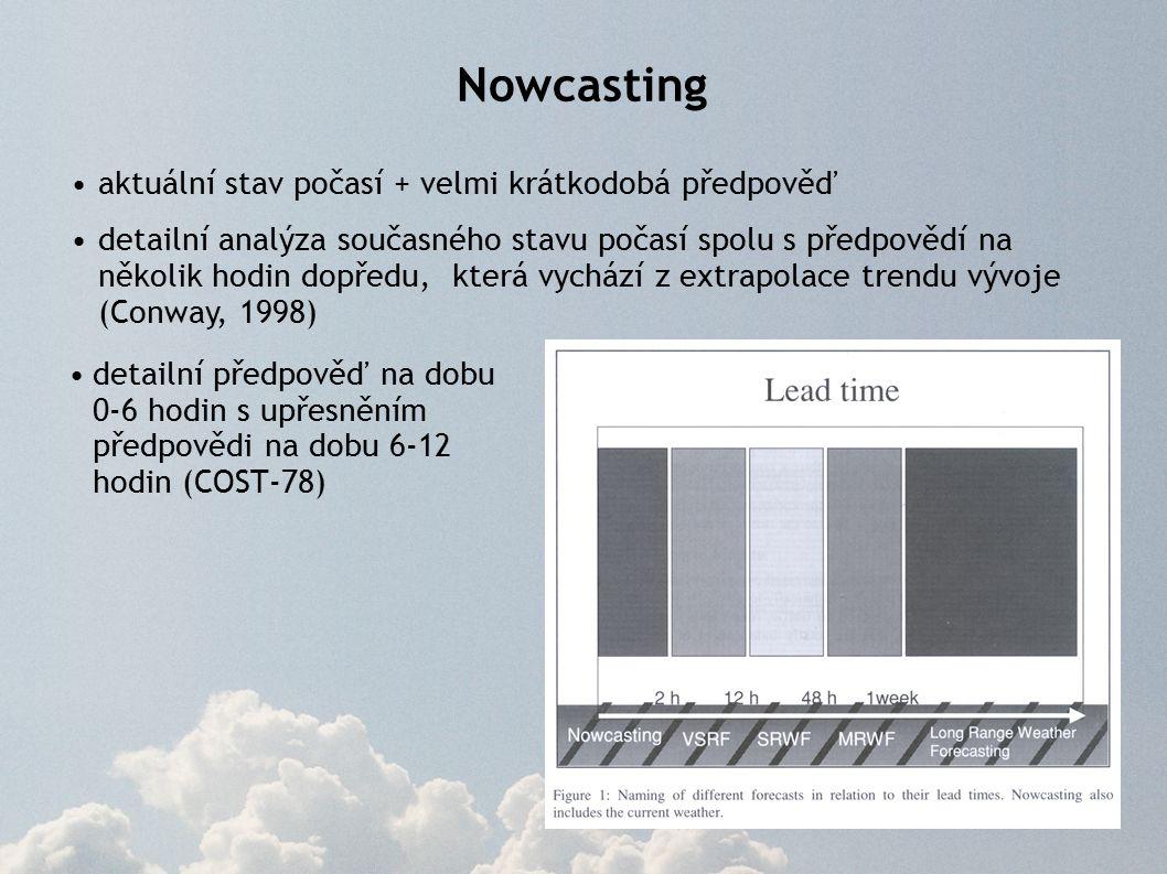 Nowcasting využívá především informací o současném stavu počasí získávaných pomocí metod dálkové detekce (údaje z meteorologických radarů, družic a systémů detekce blesků), jejichž informace se mohou kombinovat s pozemními či aerologickými pozorováními a výstupy numerických modelů přesnější předpovědi a lepší prostorová lokalizace než u delších předpovědí krátký interval platnosti předpovědi spolehlivost nowcastingu většinou rychle klesá s rostoucím časem je nezbytné zajistit častá aktualizace předpovědí dostatečná rychlost výpočtu a bezodkladná distribuce uživatelům či následným systémům vhodná forma prezentace výsledků (jednoduchost, přehlednost, geografická navigace, …)