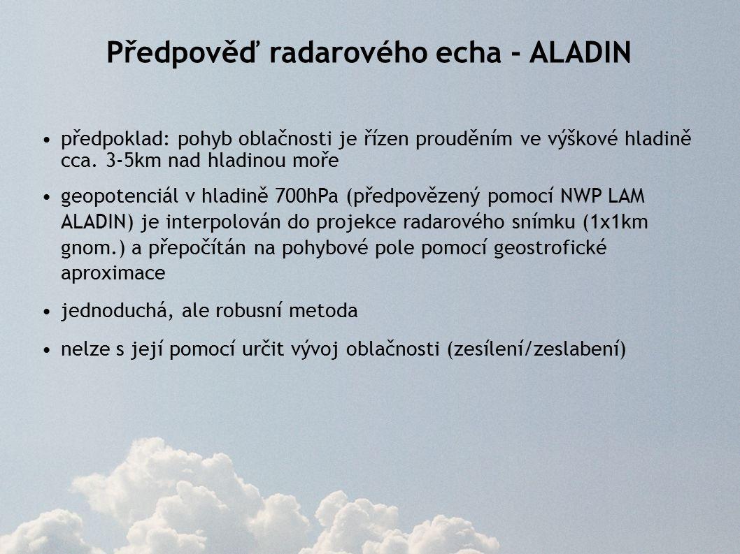 Předpověď radarového echa - ALADIN předpoklad: pohyb oblačnosti je řízen prouděním ve výškové hladině cca.