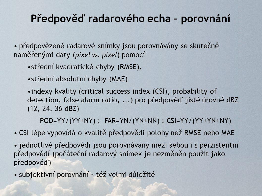 Předpověď radarového echa – porovnání předpovězené radarové snímky jsou porovnávány se skutečně naměřenými daty ( pixel vs.
