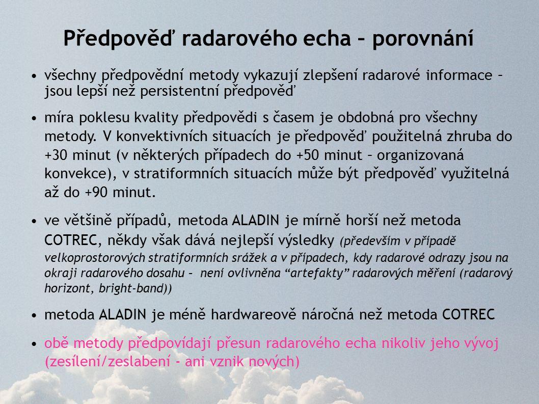 Předpověď radarového echa – porovnání všechny předpovědní metody vykazují zlepšení radarové informace – jsou lepší než persistentní předpověď míra poklesu kvality předpovědi s časem je obdobná pro všechny metody.