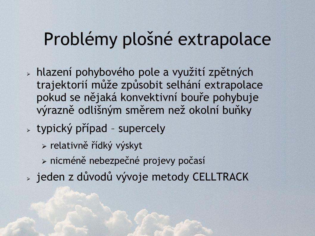 Problémy plošné extrapolace  hlazení pohybového pole a využití zpětných trajektorií může způsobit selhání extrapolace pokud se nějaká konvektivní bouře pohybuje výrazně odlišným směrem než okolní buňky  typický případ – supercely  relativně řídký výskyt  nicméně nebezpečné projevy počasí  jeden z důvodů vývoje metody CELLTRACK