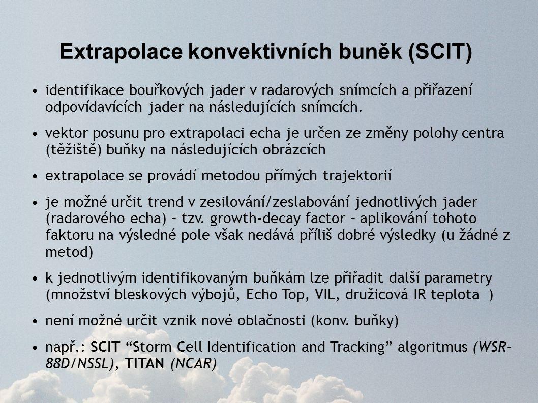Extrapolace konvektivních buněk (SCIT) identifikace bouřkových jader v radarových snímcích a přiřazení odpovídavících jader na následujících snímcích.