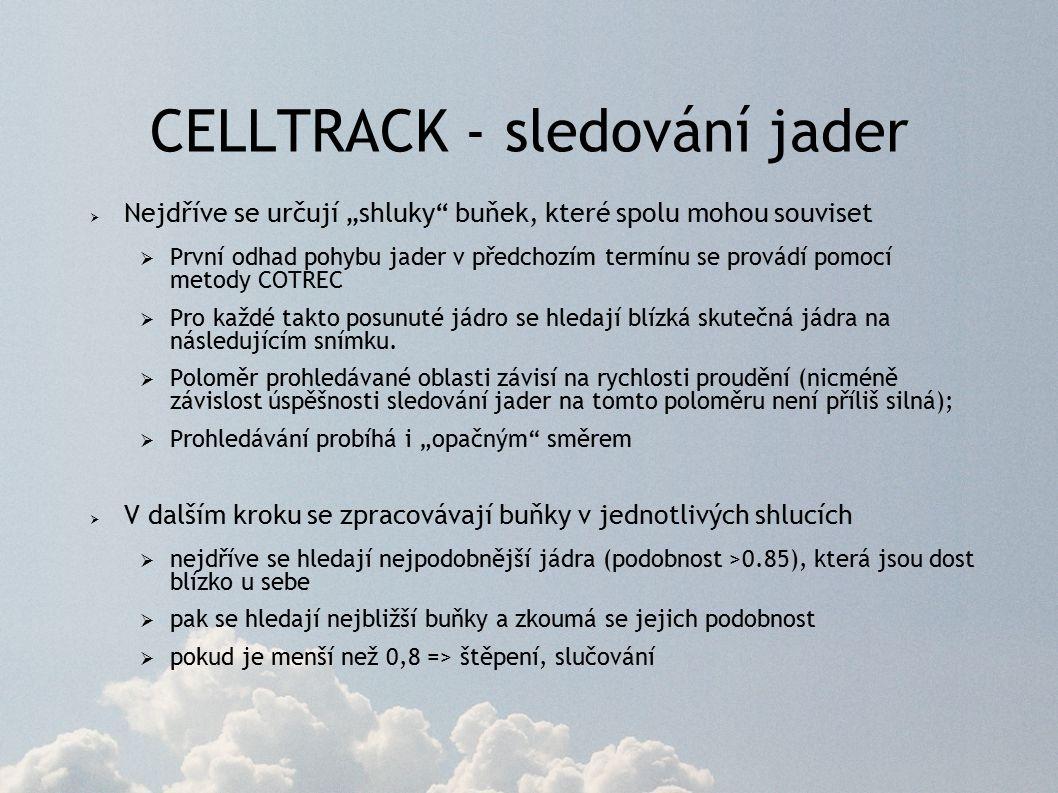 """CELLTRACK - sledování jader  Nejdříve se určují """"shluky buňek, které spolu mohou souviset  První odhad pohybu jader v předchozím termínu se provádí pomocí metody COTREC  Pro každé takto posunuté jádro se hledají blízká skutečná jádra na následujícím snímku."""