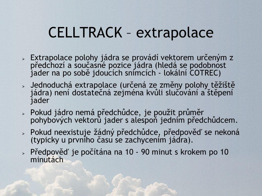 CELLTRACK – extrapolace  Extrapolace polohy jádra se provádí vektorem určeným z předchozí a současné pozice jádra (hledá se podobnost jader na po sobě jdoucích snímcích - lokální COTREC)  Jednoduchá extrapolace (určená ze změny polohy těžiště jádra) není dostatečná zejména kvůli slučování a štěpení jader  Pokud jádro nemá předchůdce, je použit průměr pohybových vektorů jader s alespoň jedním předchůdcem.