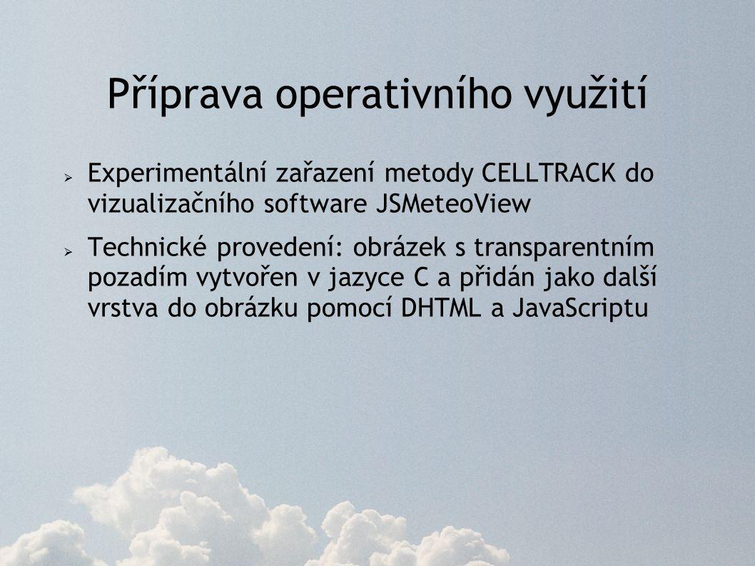 Příprava operativního využití  Experimentální zařazení metody CELLTRACK do vizualizačního software JSMeteoView  Technické provedení: obrázek s transparentním pozadím vytvořen v jazyce C a přidán jako další vrstva do obrázku pomocí DHTML a JavaScriptu