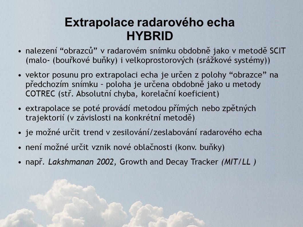 Extrapolace radarového echa HYBRID nalezení obrazců v radarovém snímku obdobně jako v metodě SCIT (malo- (bouřkové buňky) i velkoprostorových (srážkové systémy)) vektor posunu pro extrapolaci echa je určen z polohy obrazce na předchozím snímku – poloha je určena obdobně jako u metody COTREC (stř.