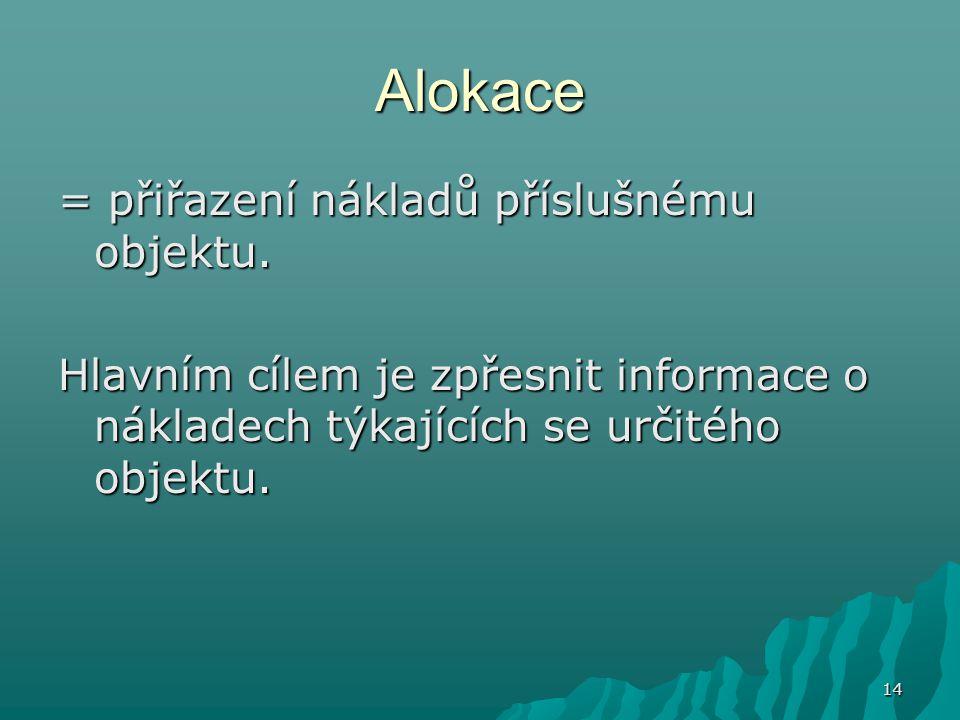 14 Alokace = přiřazení nákladů příslušnému objektu. Hlavním cílem je zpřesnit informace o nákladech týkajících se určitého objektu.