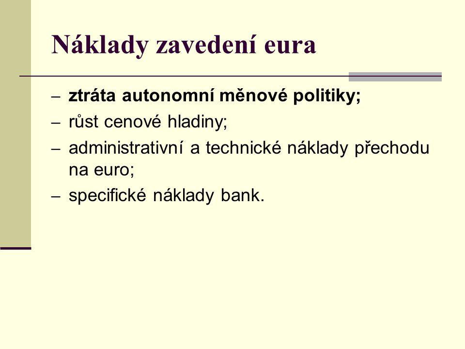 Náklady zavedení eura – ztráta autonomní měnové politiky; – růst cenové hladiny; – administrativní a technické náklady přechodu na euro; – specifické