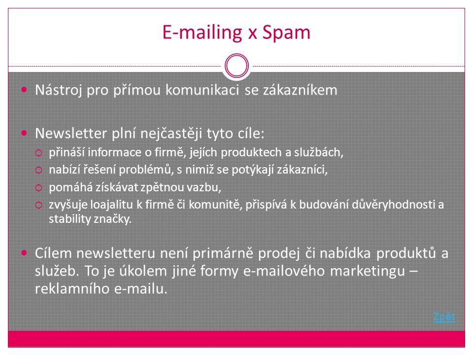 E-mailing x Spam Nástroj pro přímou komunikaci se zákazníkem Newsletter plní nejčastěji tyto cíle:  přináší informace o firmě, jejích produktech a službách,  nabízí řešení problémů, s nimiž se potýkají zákazníci,  pomáhá získávat zpětnou vazbu,  zvyšuje loajalitu k firmě či komunitě, přispívá k budování důvěryhodnosti a stability značky.