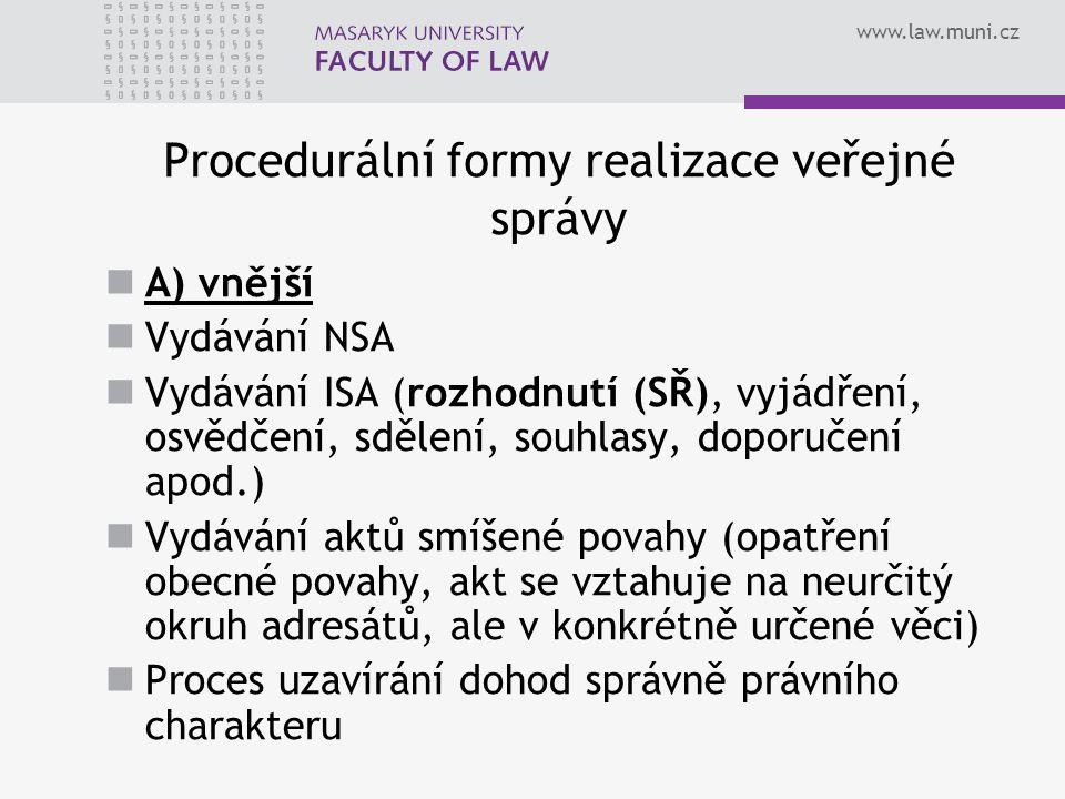 www.law.muni.cz Procedurální formy realizace veřejné správy A) vnější Vydávání NSA Vydávání ISA (rozhodnutí (SŘ), vyjádření, osvědčení, sdělení, souhl