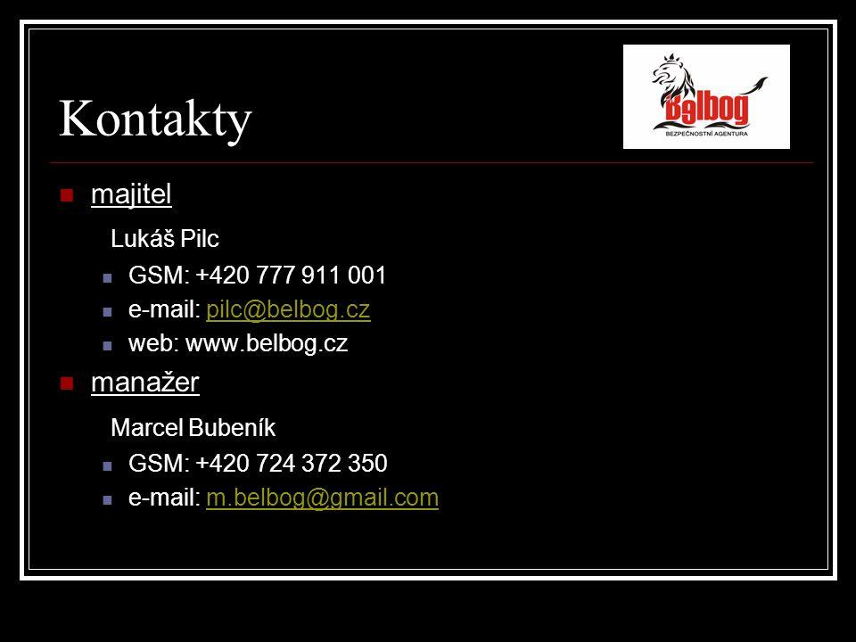 Kontakty majitel Lukáš Pilc GSM: +420 777 911 001 e-mail: pilc@belbog.czpilc@belbog.cz web: www.belbog.cz manažer Marcel Bubeník GSM: +420 724 372 350 e-mail: m.belbog@gmail.comm.belbog@gmail.com