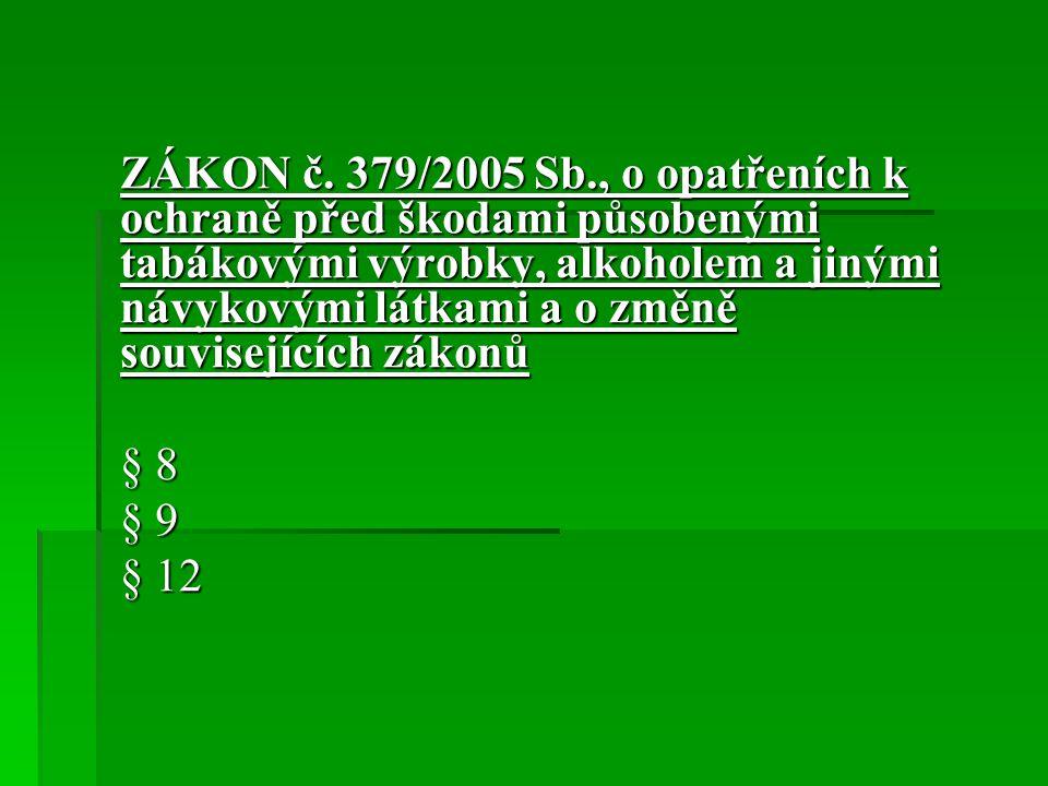 ZÁKON č. 379/2005 Sb., o opatřeních k ochraně před škodami působenými tabákovými výrobky, alkoholem a jinými návykovými látkami a o změně souvisejícíc
