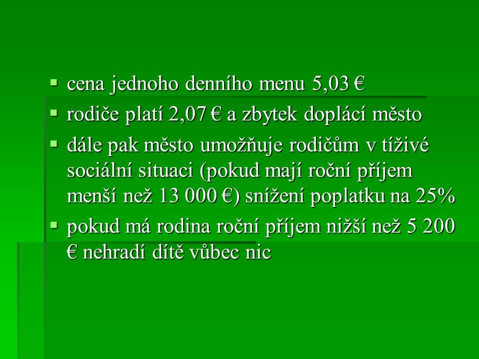  cena jednoho denního menu 5,03 €  rodiče platí 2,07 € a zbytek doplácí město  dále pak město umožňuje rodičům v tíživé sociální situaci (pokud maj
