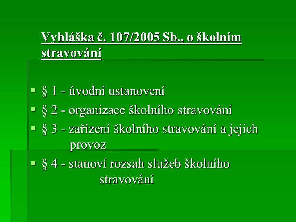 Vyhláška č. 107/2005 Sb., o školním stravování Vyhláška č. 107/2005 Sb., o školním stravování  § 1 - úvodní ustanovení  § 2 - organizace školního st